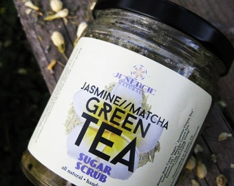 Sugar Scrub /// Jasmine Matcha Green Tea /// Organic Ingredients~ Great gift for sister, mother, co-worker, best friend, aunt, grandmother!