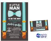 Little Man Baby Shower Invitation - Onesie Invitation - Shower invitation Baby Boy on this way Bow Suspenders Tie diaper raffle