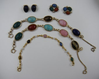 Trio of Egyptian Revival Scarab Bracelets