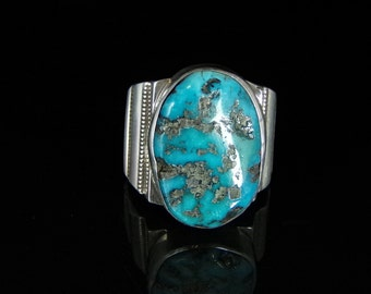 Sleeping Beauty Turquoise Ring Sterling Silver Handmade Size 13.0, R0458