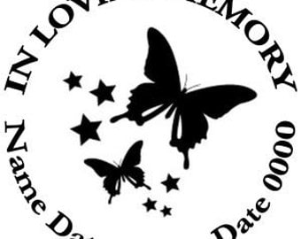 In Loving Memory Round Butterflies Butterfly Stars Vinyl Decal Sticker