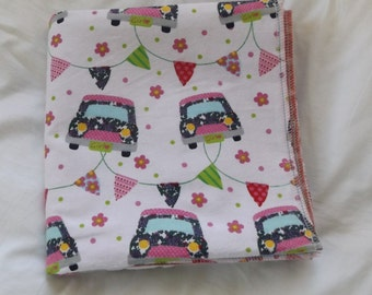 Girl Power Cars Flannel Receiving or Swaddling Blanket, Double Layer, 2 Layer Serged Blanket, New Design, Crib or Stroller Blanket