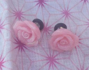 Glitter Pink Rose Plugs Gauge 00