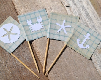 Nautical Cupcake Toppers, Cupcake Flags | 6 Pieces