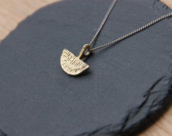 golden scribble necklace. brass half circle pendant necklace silver.