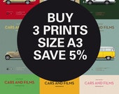 Discount Set - Inspired Movie posters - Any 3 Prints A3 - Save 5% - Size A3 - Carsandfilms