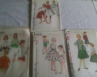 1950s girls sewing patterns simplicity vintage antique