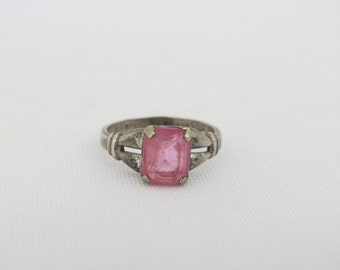 Antique Art Deco Sterling Silver Pink Stone Ring Size 5.5