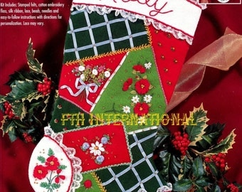 "Bucilla Floral Patchwork ~ 18"" Felt Christmas Stocking Kit #83507, Flowers, Lace DIY"
