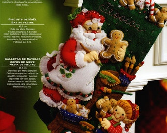 "Bucilla Christmas Cookies ~ 18"" Felt Stocking Kit #86106 Santa & Elves Baking DIY"