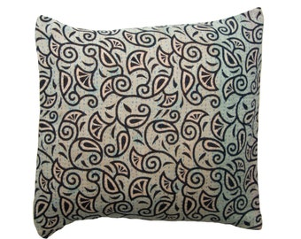 Kantha Cushion Cover - Soft turquoise with black