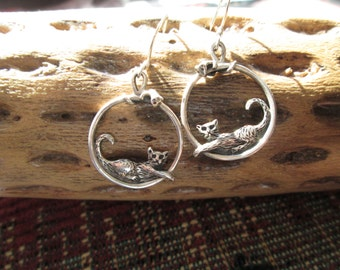 Cat and Gecko Sterling Hoop Earrings
