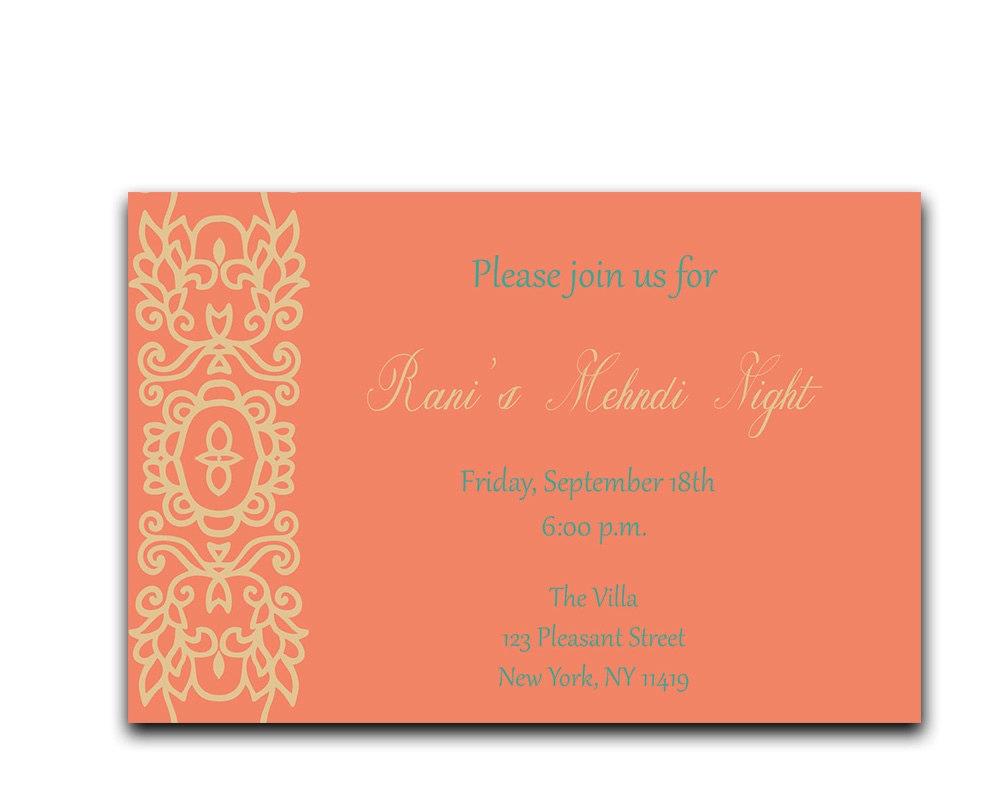 Mehndi Party Invites : Gold mehndi night invitation coral henna party