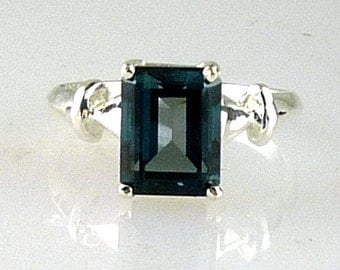 Genuine London Blue Topaz Emerald Cut Solitaire Ring, 925 Sterling Silver