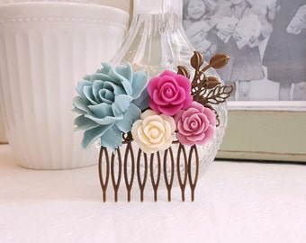 Pastel flowers Soft blue rose Country garden hair accessory Antique brass Bridal hair comb
