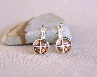 Retro chic Silver earrings set Gift idea Glass Cabochon Leverback earwires