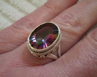 Mystic Topaz 925 Sterling Silver Ring Size 6