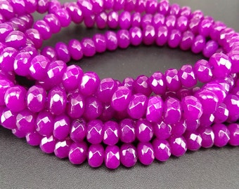 Full Strand 6x4mm 90pcs Purple Agate Faceted Rondelle Beads Agate Gemstone Beads