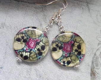 Painted Tattoo Skulls and Roses Shell Disc Earrings SP Hooks