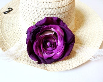 Sun hat, beach hat, a wide-brimmed straw hat, straw hat, summer hat, women hats, ladies straw hats.Violet-Pink  flower hat