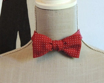 Bow Tie red polka dot cotton.