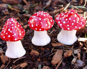 Three hand crafted ceramic toadstools - T91
