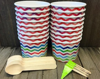 Ice Cream Sundae Kit with 12 Ounce Chevron Paper Cups, Wooden Spoons and Banner Picks- Pink, Blue, Green Party Supply- Dessert Cups- 16 Each