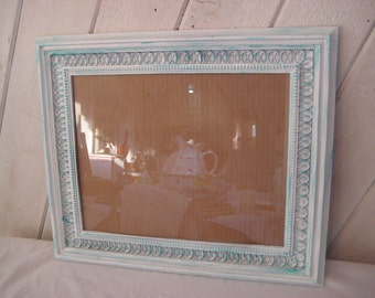 White aqua distressed picture frame, hand painted vintage frame, decorative ornate frame, shabby cottage chic decor,  11 x14 inches