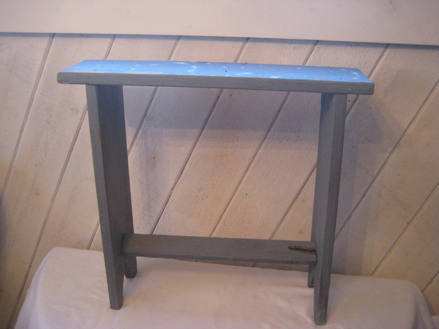 Tall Narrow Blue Bench Wood Plant Stand Thin Porch Bench