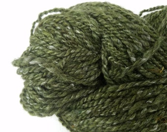 Moss in bloom hand spun, naturally dyed worsted weight wool yarn