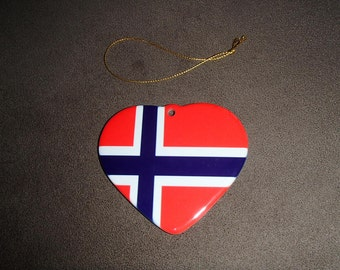 Ceramic Flag Heart Ornament - Sweden Norway Finland Denmark Iceland Germany