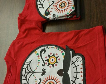 Boys Red Mexican Sugar Skull tee