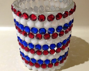 Mosaic Candle Holder,  Red White Blue Candle,  Patriotic Decor, Mosaic Design, Rhinestone Decor, Red White and Blue Decor, Gifts Under 20