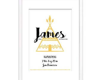 Birth Announcement Poster - Nursery Wall Decoration - Alphabet print - Baby names - Letters