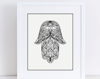 Black and White Hamsa, Hamsa Art, Mandala Art, Hamsa Printable, Hamsa Wall Art, Hamsa Hand, Evil Eye Wall Decor, Hand of Fatima,
