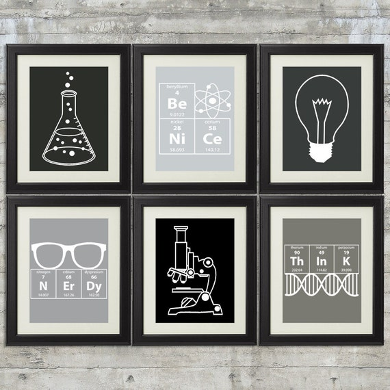 10 Images About Teen Science Themed Bedrooms On Pinterest: Nerdy Science Art Set Of 6 8x10 Instant Download