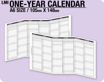 2018 / A6 1-year Calendar / fold into A6 - Inserts Refills Filofax Binder Collins