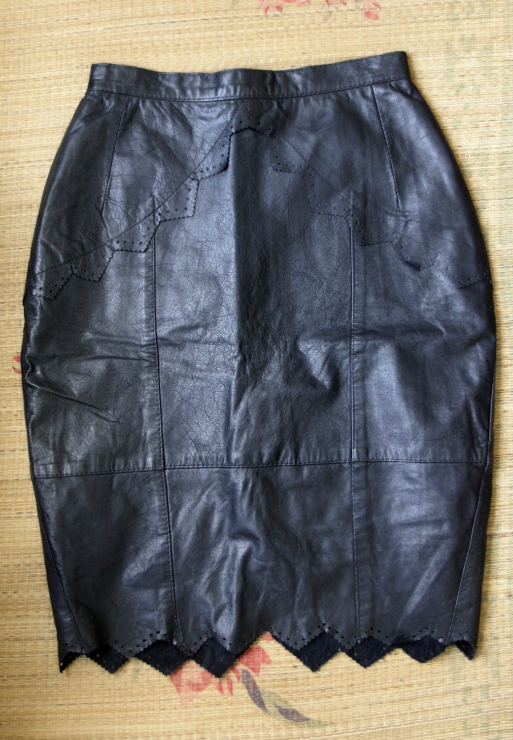 sale 90s black leather skirt leather by