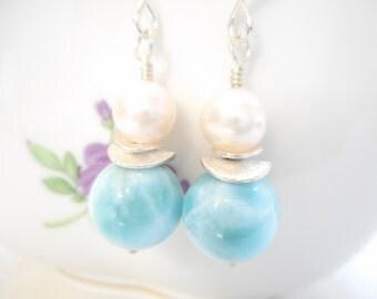 Larimar and Freshwater Pearl Earrings, Sterling Silver Genuine Gemstone Larimar Jewelry, Sky Blue Stone Dangle Earrings, Beach Wedding
