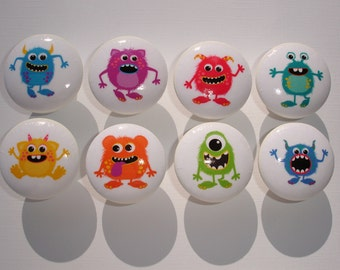 Boys Monster Dresser Drawer Knobs Set of 8