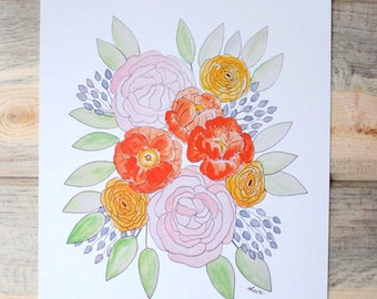 SALE // Garden Roses and Ranunculus // 8 x 10 inch Watercolor Print // Ready to Frame