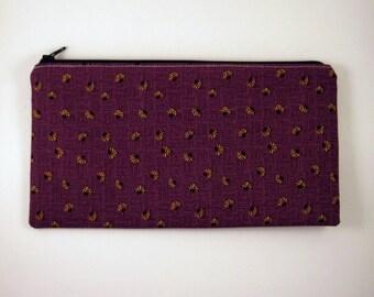 Purple Lady Bug Pencil Pouch, Zipper Pouch, Make Up Bag