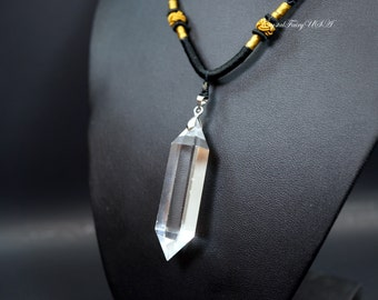 Large Clear Quartz Point Necklace Men's Jewelry - High Quality Stone Necklace