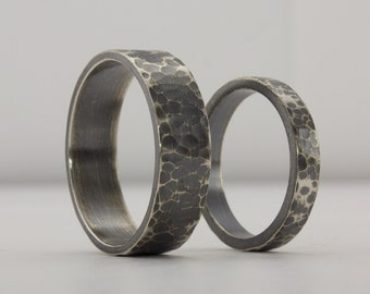Hammered Sterling Silver Ring Set, Matching Ring Set, Oxidized, Blackened Silver Ring, Textured Ring, Wedding Band Set, Unusual Rings