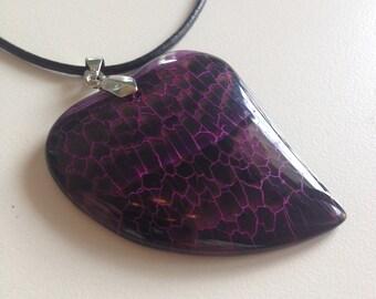 36: Purple Fire Heart Shaped Agate Pendant Necklace - Purple Agate Pendant Necklace - Agate Pendant Necklace -Purple Heart Shaped Agate