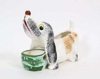 Vintage Kitsch Ceramic Dog Planter, Made in Japan