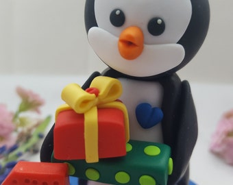 Baby's first birthday cake topper, penguin figures, handmade penguin, sculpture, clay penguin