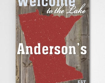 Personalized Lake House Decor - Home State - Custom Cabin Decor - Housewarming Gifts - CA032