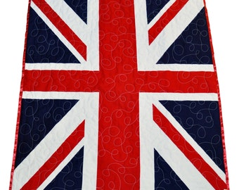 Union Jack Quilt, Union Jack Baby Blanket, Union Jack Baby Gift, uk baby gift, red white blue quilt, flag quilt, Union Jack flag, British