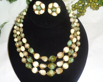 Hong Kong Triple Strand Signed Marbled Green Swirls Shades of Oatmeal Cream Color